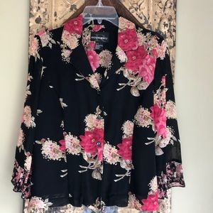 Floral Blouse Flare Sleeves